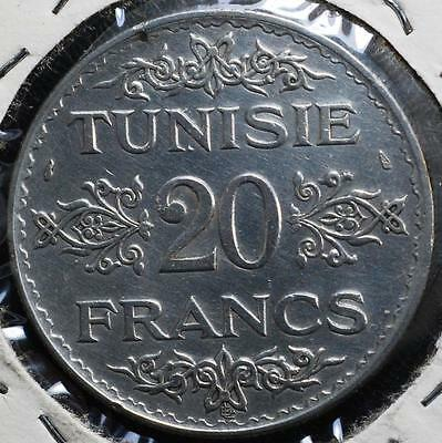 1353 (1934) Silver Tunisia 20 Francs, KM# 263 Free Shipping!