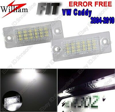 2 Bulbs Xenon White LED License Number Plate Lights For VW Caddy III 2004-2010