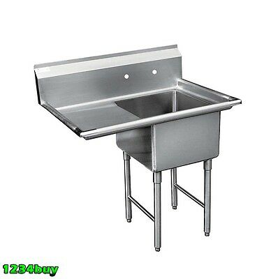 "ACE Compartment Stainless Steel Sink 18""x18"" Left Drainboard 24"" ETL SE18181L24"