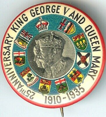 1910-1935 King George V and Queen Mary 25th Anniversary Pin Family Crest Shields