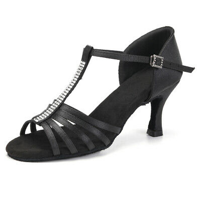 Brand New Women Girl lady's Ballroom Latin Tango Dance Shoes heeled Salsa Black