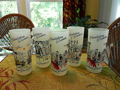 Ice Tea Tumblers Plantation Scenes Set of 5 Frosted
