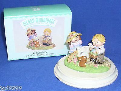Hallmark Easter Merry Miniature Set Bashful Friends 1999 Girl Boy at Garden Gate