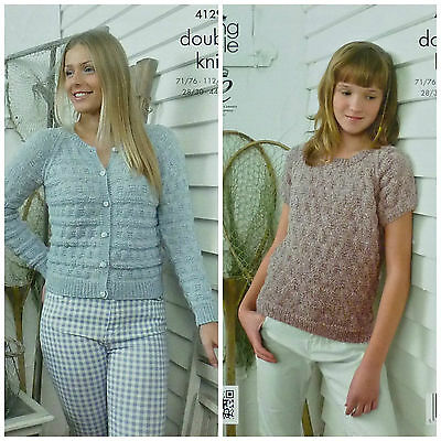 KNITTING PATTERN Ladies Round Neck Textured Cardigan & Jumper DK King Cole 4129