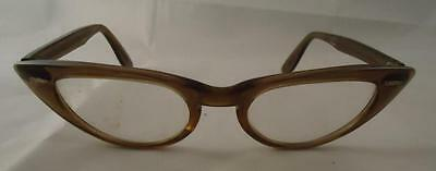 Vtg Bausch Lomb Cat eye Cateye Glasses 5 1/4 Tan lucite Natural Clear eyeglasses