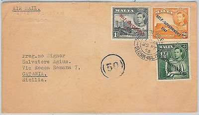 MALTA -  POSTAL HISTORY - AIRMAIL COVER from PRINCE OF WHALES - SLIEMA to ITALY