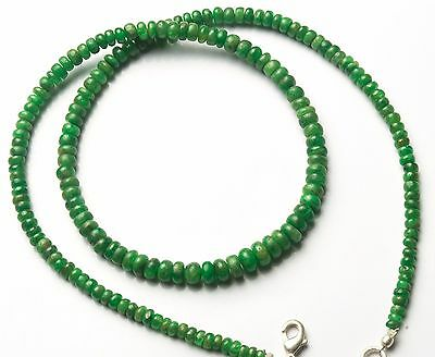 """Natural Gemstone Tsavorite Smooth 3-5Mm Rondelle Beads Necklace 75Cts. 17"""""""