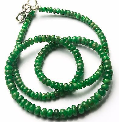 """Natural Gemstone Tsavorite Smooth 3-5Mm Rondelle Beads Necklace 73Cts. 17"""""""