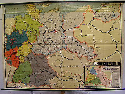 Schulwandkarte Deutschland dreigeteilt ~1962 232x163 three or more parts gemany