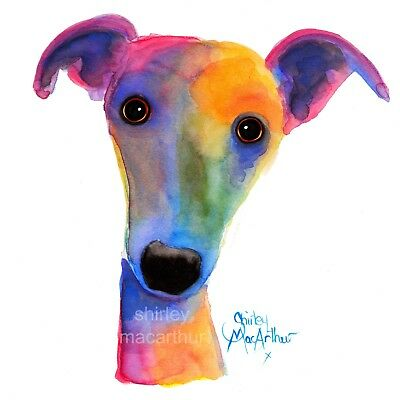 WHiPPeT GReYHouND DOG PRINTS WaLL ART of Original painting 'PANSY'  BY SHIRLEY M