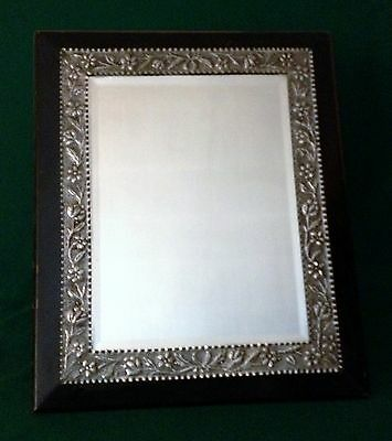 Unusual large antique silver mirror London 1891