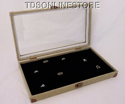 Burlap Covered Glass Top Jewelry Display Case For 144 Rings