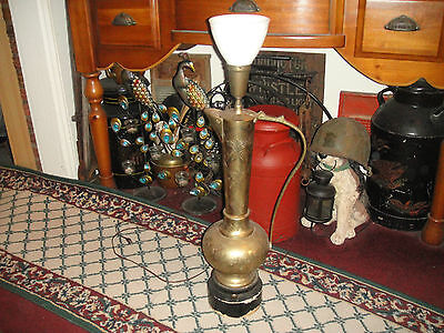 """Antique Turkish Middle Eastern Water Pitcher Lamp-31"""" Tall-VLarge-Engraved"""