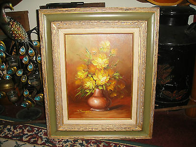 Vintage LT Mauger Oil Painting On Canvas-Bouquet Yellow Roses-Framed-Signed