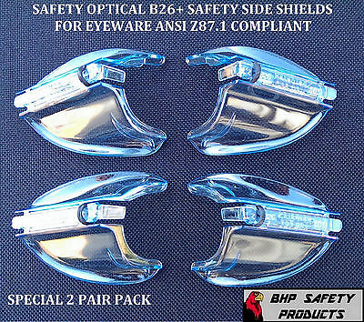 B26+ Side Shields For Rx Glasses Safety Eyewear Eye Protection (2 Pair Pack)