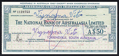 The National Bank of Australasia Traveller's Cheque Torrensville South Australia