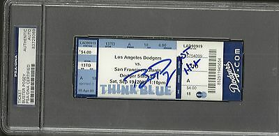 Giants Buster Posey Ip Auto Signed 1St Hit Ticket 9/19/2009 With Insc Psa/dna