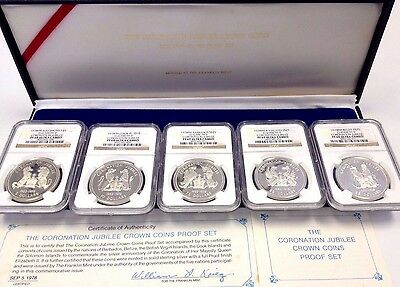 1978 Silver Set Coronation Jubilee Barbados Belize Virgin Cook Solomon NGC PF69