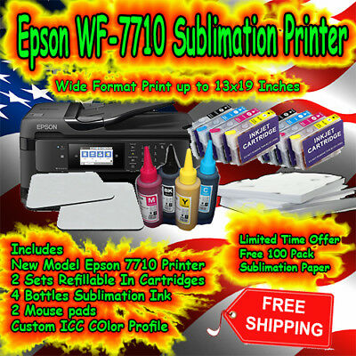 Epson Sublimation Printer WF-7610 CISS System with Ink Sublimation Paper Blanks