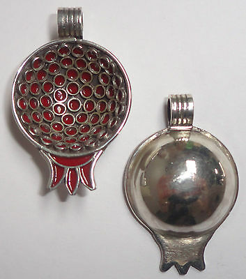 Small SILVER & Red Enamel Moroccan Berber Pomegranate PENDANT- 2-Sided- NEW!!!