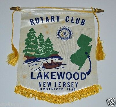 RARE Old Vintage Lakewood New Jersey Rotary International Wall Banner Flag