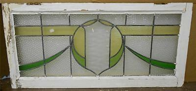 "LARGE OLD ENGLISH LEADED STAINED GLASS WINDOW Shield Sweep design 37"" x 17.75"""