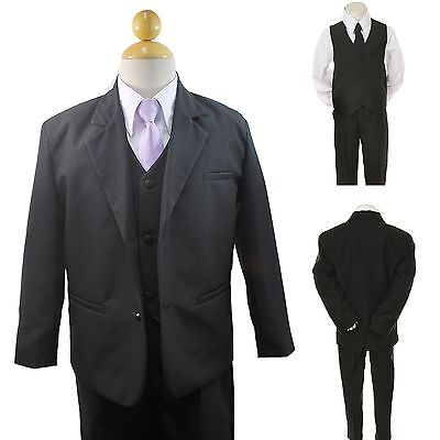 New Baby Toddler Boy Black Formal Wedding Party Suit Tuxedo+ Lilac Necktie 2-4T