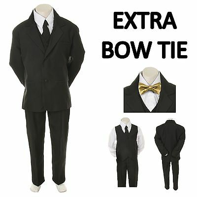 New Baby Toddler Boy Black Formal Wedding Party Suit Tuxedo + Gold Bow Tie S-4T