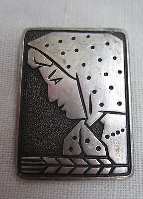 Russian Soviet Pin Vintage girl Polka Dot Kerchief Silver Metal Брошка Девушка