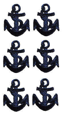"3315BLot 6Pcs 1 1/2"" Nautical Ship Blue Anchor Embroidery Iron On Applique Patch"