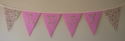 Personalised Fabric Bunting Vintage floral Pink shabby chic £2 per lettered flag