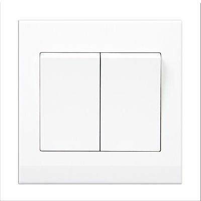 Simplicity White Screwless Light Switch 2 Gang 1 Way (Pulse/Retractive) 07100