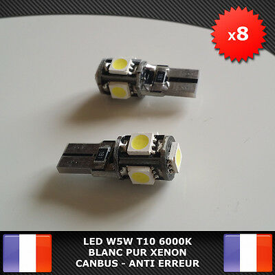 8 Veilleuses LED W5W T10 Canbus ANTI ERREUR ODB Blanc pur 6000k XENON 5 SMD