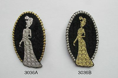 #3036 Gold,Sliver Women,Lady Portrait Embroidery Iron On Applique Patch
