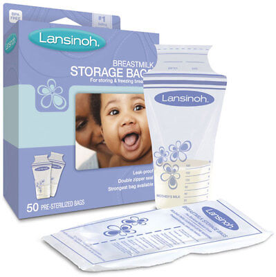 Lansinoh Breast Milk Storage Bag For Storing & Freezing - 50 Pre Sterilized Bags