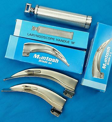 New Premium Grade Laryngoscope Mac Blade#3,4 +1 Handle Ent Anesthesia Set