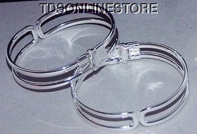 Silver Plated Bracelet Cuffs for Jewelry Making Spring Closure 2 Pk
