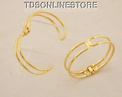Gold Plated Bracelet Cuffs for Jewelry Making With Spring Closure 2 Pk