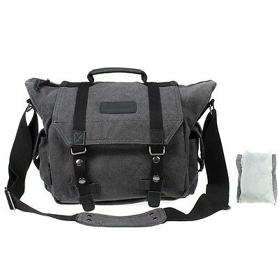 Large Canvas DSLR Camera/Laptop Travel Bag Messenger Shoulder Case w/ Rain Cover