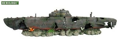 Heritage Ws004Bl Aquarium Fish Tank Xx/large Submarine 2-Pc Wreck Ornament 80Cm