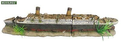 HERITAGE WS021s AQUARIUM FISH TANK MEDIUM TITANIC BOAT SHIP WRECK ORNAMENT 40CM