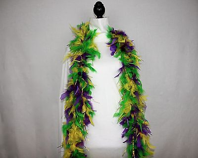 MARDI GRAS w/GOLD TINSEL FEATHER BOA Best Price on eBay 6 FEET 60 GRAMS; Parades
