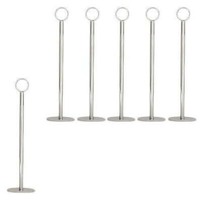 6x Table Number Stand, Ring Clip, 40mm Base, 300mm, Menu / Card Holder
