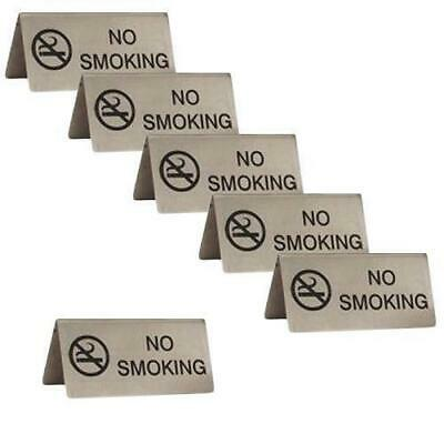 6x No Smoking Sign, A Frame, Stainless Steel, 100x43mm, Cafe / Bistro Table Sign