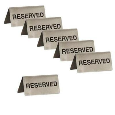6x Reserved Sign, A Frame, Stainless Steel 100x43mm, Cafe / Bistro Table Sign