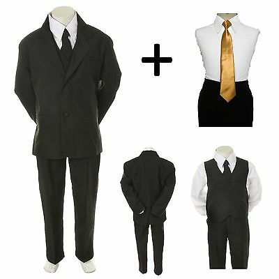 New Baby Toddler Boy Black Formal Wedding Party Suit Tuxedo + Gold Necktie 2-4T