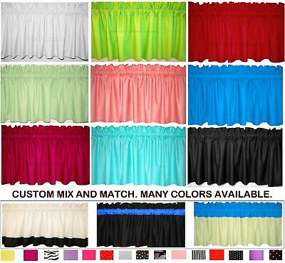 "New 40""- 60""- 80"" CUSTOM solid WHITE GREEN BLACK light weight fabric VALANCE"