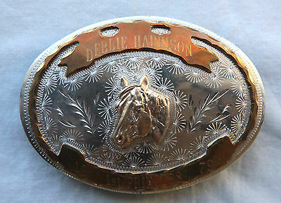 Vtg Cowgirl Horse Rodeo Hand Engraved 1st Princess Western Flair Belt Buckle