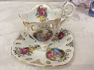 Vintage Unmarked Reticulated Porcelain Footed Demitasse Cup And Saucer Set