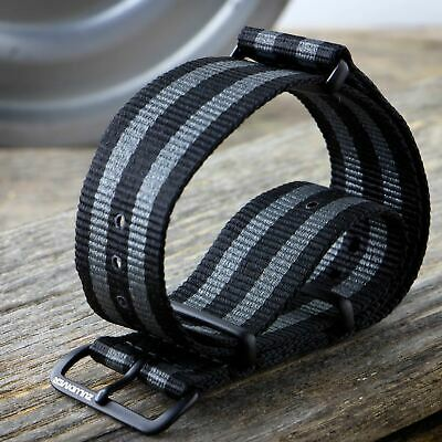 G10 NATO ZULUDIVER® Striped Nylon Military Watch Strap 18 20 22mm PVD IP Black